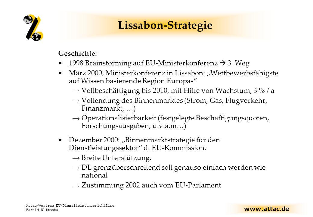 www.attac.de Attac-Vortrag EU-Dienslteistungsrichtline Harald Klimenta Lissabon-Strategie Ursprünglich: Viel Soziales, seit 2001 auch Nachhaltigkeit, aber LS wegen Börsenkrach fast tot 2001/2002 Neuakzentuierung (v.