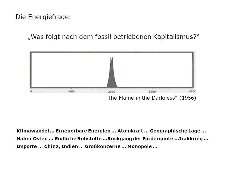 Die Energiefrage: Klimawandel … Erneuerbare Energien … Atomkraft … Geographische Lage … Naher Osten … Endliche Rohstoffe …Rückgang der Förderquote …Irakkrieg … Importe … China, Indien … Großkonzerne … Monopole … The Flame in the Darkness (1956) Was folgt nach dem fossil betriebenen Kapitalismus?