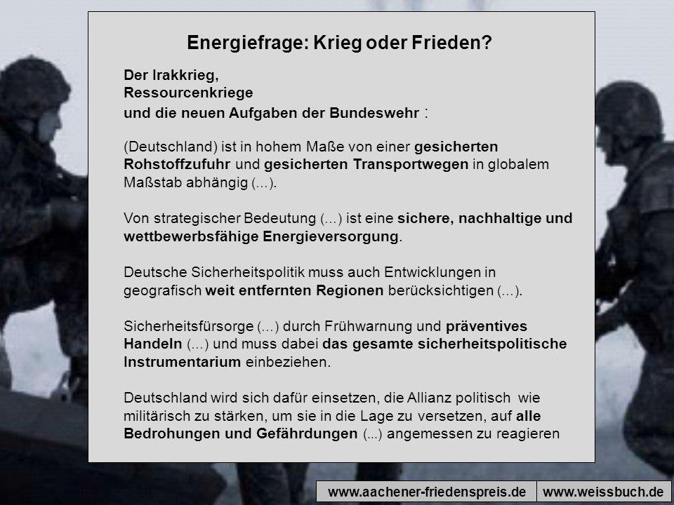 Energiefrage: Krieg oder Frieden.