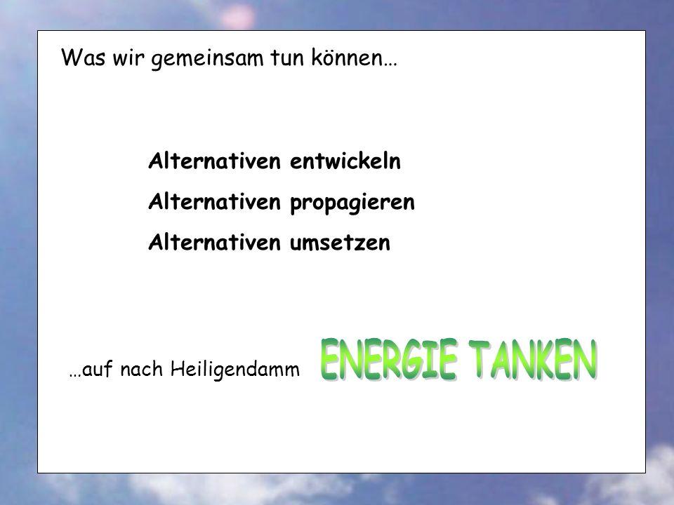 Was wir gemeinsam tun können… Alternativen entwickeln Alternativen propagieren Alternativen umsetzen …auf nach Heiligendamm