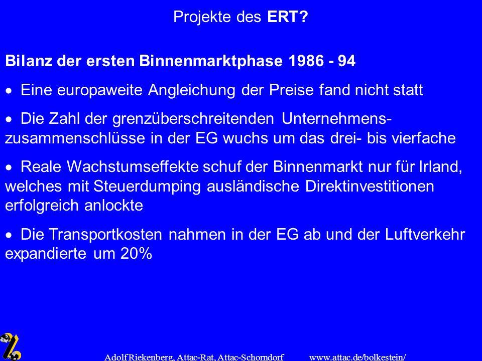 www.attac.de/bolkestein/ Adolf Riekenberg, Attac-Rat, Attac-Schorndorf Projekte des ERT? Bilanz der ersten Binnenmarktphase 1986 - 94 Eine europaweite