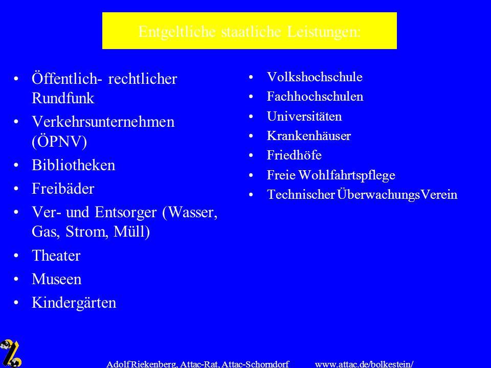 www.attac.de/bolkestein/ Adolf Riekenberg, Attac-Rat, Attac-Schorndorf Entgeltliche staatliche Leistungen: Öffentlich- rechtlicher Rundfunk Verkehrsun