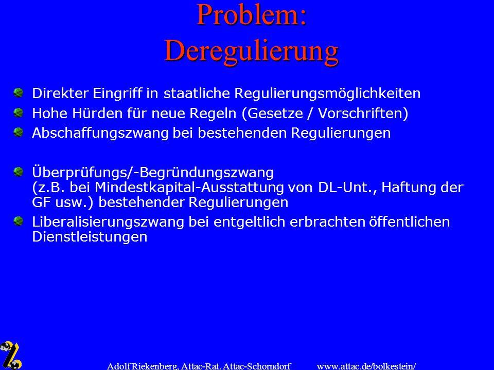 www.attac.de/bolkestein/ Adolf Riekenberg, Attac-Rat, Attac-Schorndorf Problem: Deregulierung Direkter Eingriff in staatliche Regulierungsmöglichkeite