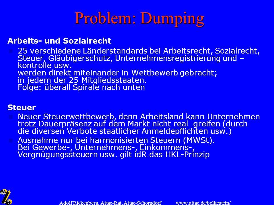 www.attac.de/bolkestein/ Adolf Riekenberg, Attac-Rat, Attac-Schorndorf Problem: Dumping Arbeits- und Sozialrecht 25 verschiedene Länderstandards bei A
