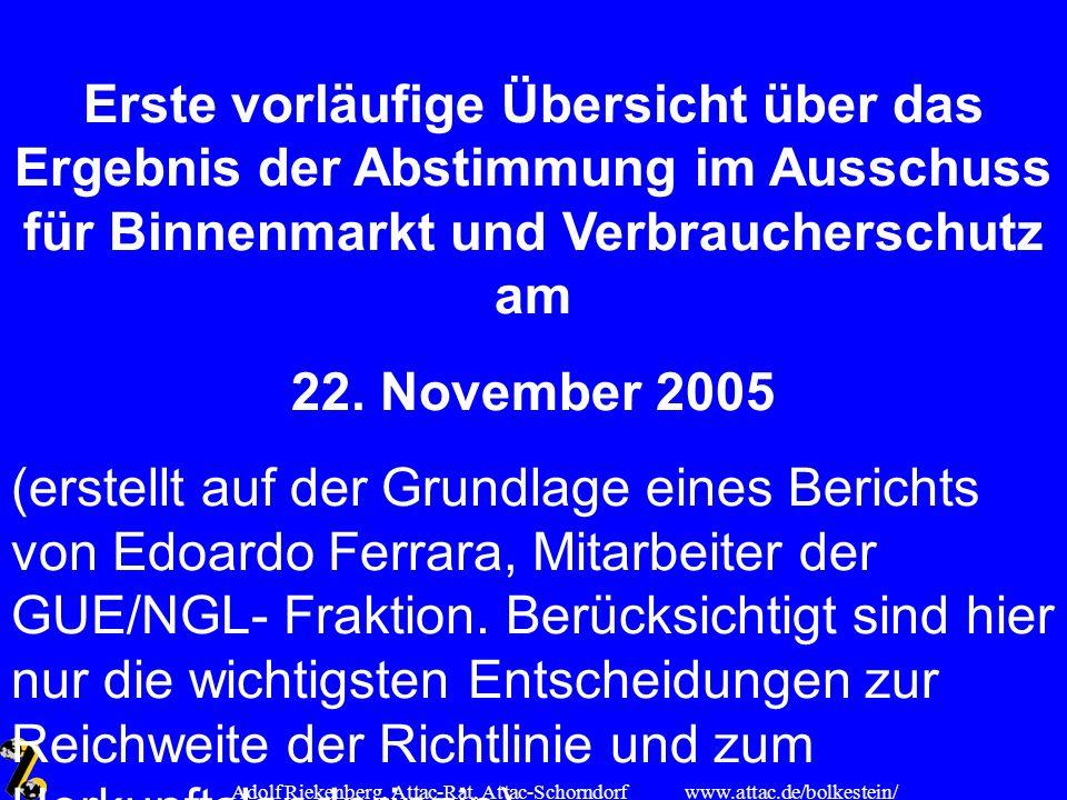 www.attac.de/bolkestein/ Adolf Riekenberg, Attac-Rat, Attac-Schorndorf Erste vorläufige Übersicht über das Ergebnis der Abstimmung im Ausschuss für Bi