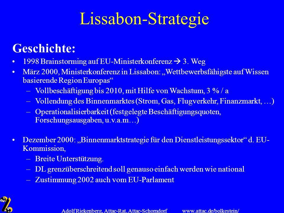 www.attac.de/bolkestein/ Adolf Riekenberg, Attac-Rat, Attac-Schorndorf Lissabon-Strategie Ursprünglich: Viel Soziales, seit 2001 auch Nachhaltigkeit, aber LS wegen Börsenkrach fast tot 2001/2002 Neuakzentuierung (v.