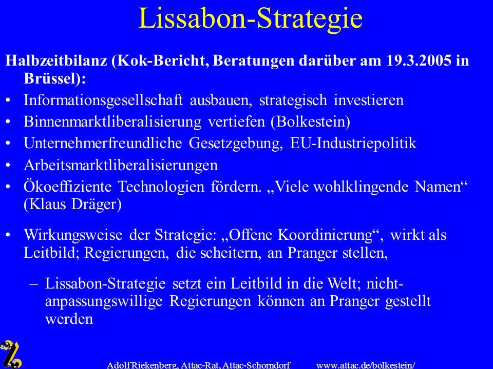 www.attac.de/bolkestein/ Adolf Riekenberg, Attac-Rat, Attac-Schorndorf Lissabon-Strategie Halbzeitbilanz (Kok-Bericht, Beratungen darüber am 19.3.2005