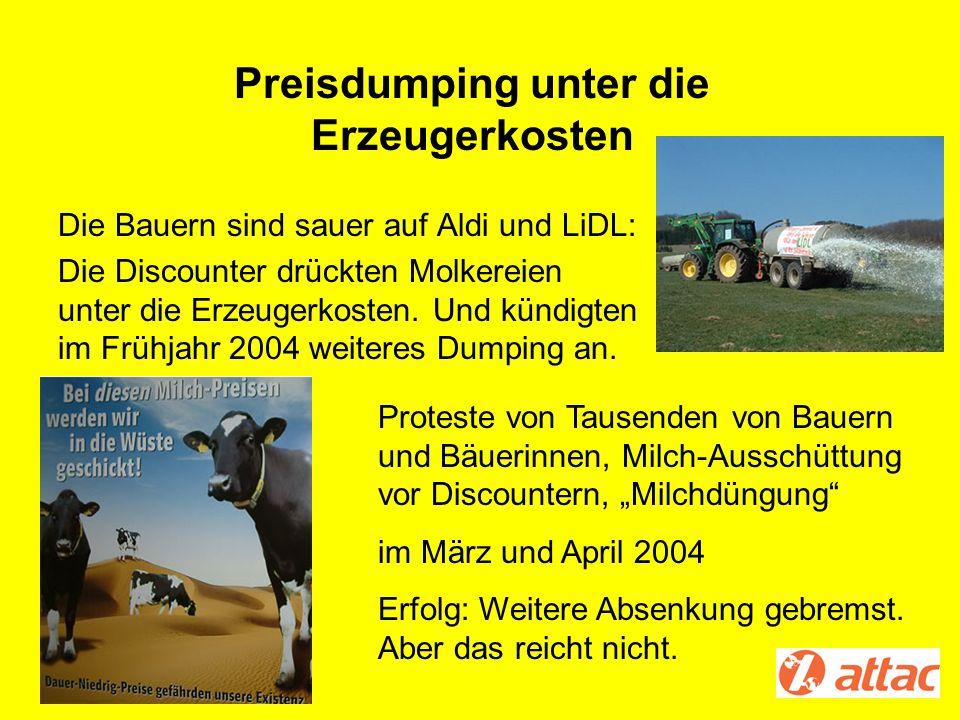 Preisdumping unter die Erzeugerkosten Die Bauern sind sauer auf Aldi und LiDL: Die Discounter drückten Molkereien unter die Erzeugerkosten. Und kündig