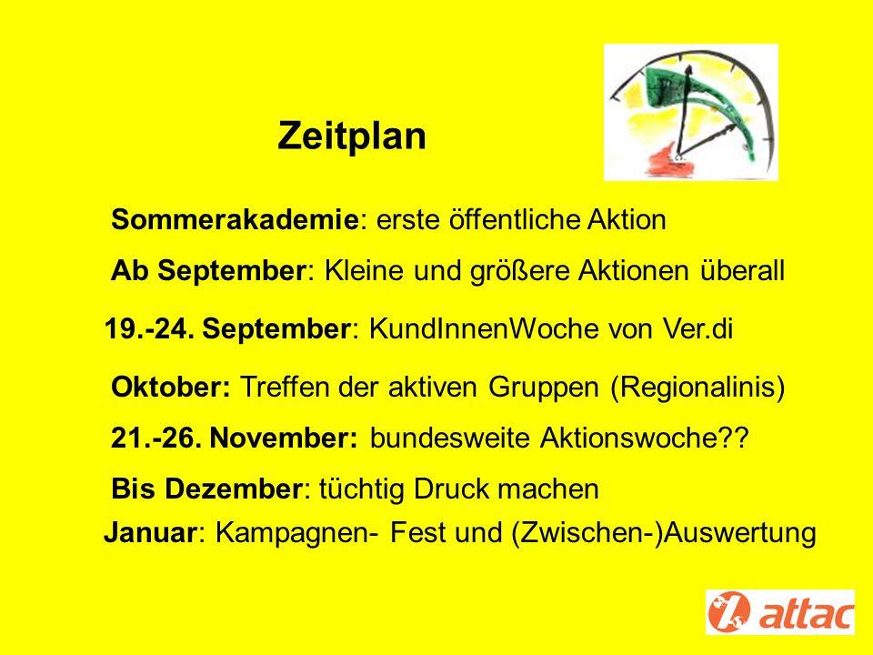 Zeitplan Sommerakademie: erste öffentliche Aktion 19.-24. September: KundInnenWoche von Ver.di Ab September: Kleine und größere Aktionen überall Bis D