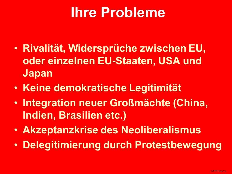 Ihre Probleme Rivalität, Widersprüche zwischen EU, oder einzelnen EU-Staaten, USA und Japan Keine demokratische Legitimität Integration neuer Großmächte (China, Indien, Brasilien etc.) Akzeptanzkrise des Neoliberalismus Delegitimierung durch Protestbewegung WEED PeWa