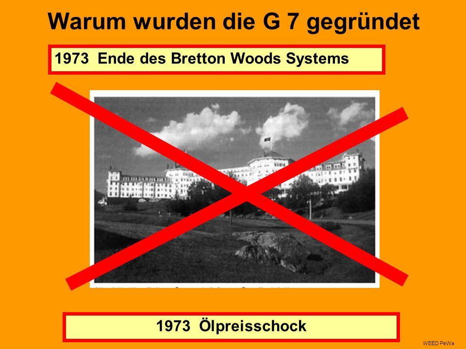 Warum wurden die G 7 gegründet 1973 Ende des Bretton Woods Systems 1973 Ölpreisschock WEED PeWa