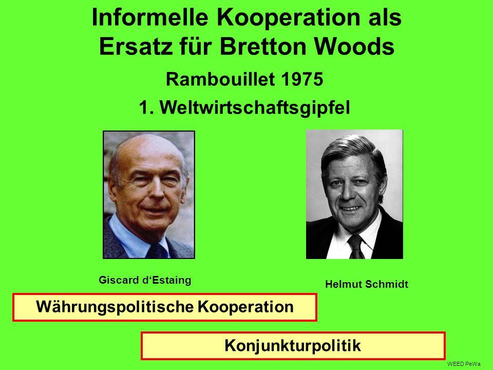 Informelle Kooperation als Ersatz für Bretton Woods Rambouillet 1975 1. Weltwirtschaftsgipfel Giscard dEstaing Helmut Schmidt WEED PeWa Währungspoliti