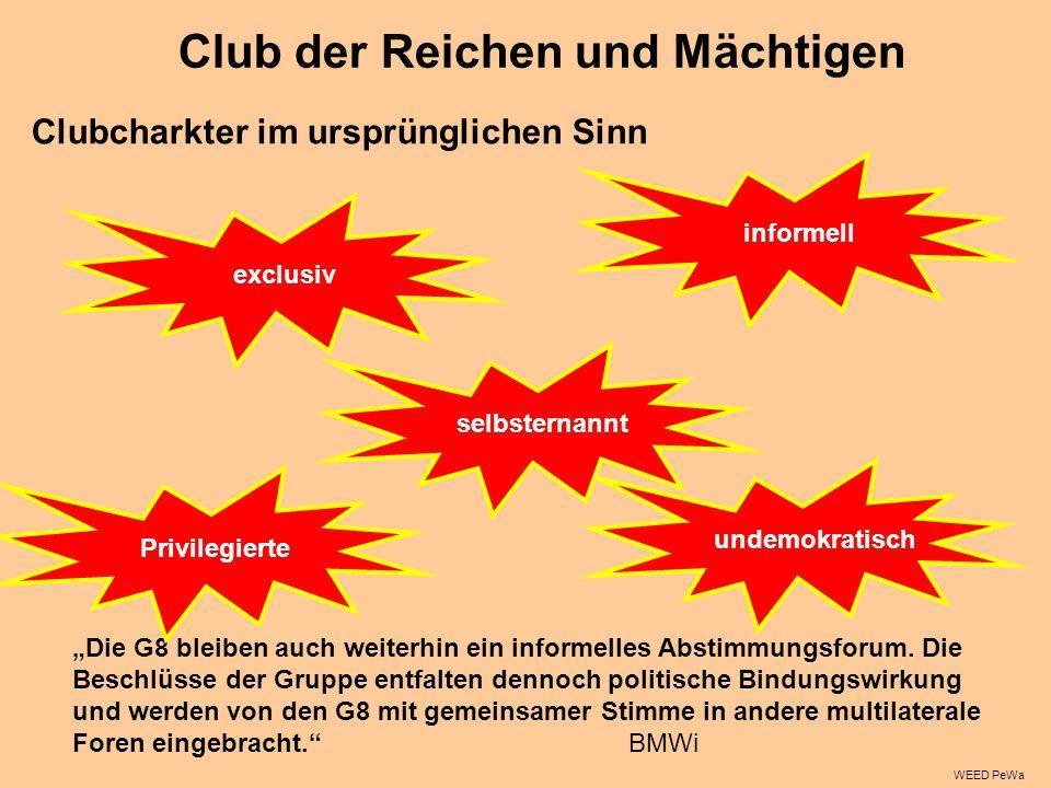 Club der Reichen und Mächtigen Clubcharkter im ursprünglichen Sinn Die G8 bleiben auch weiterhin ein informelles Abstimmungsforum.