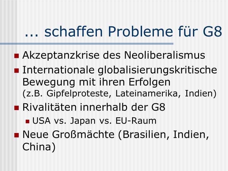 ... schaffen Probleme für G8 Akzeptanzkrise des Neoliberalismus Internationale globalisierungskritische Bewegung mit ihren Erfolgen (z.B. Gipfelprotes