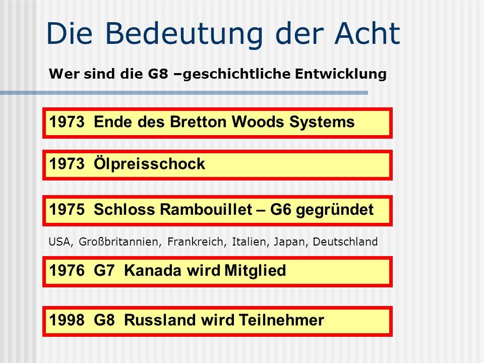 Die Bedeutung der Acht Wer sind die G8 –geschichtliche Entwicklung 1973 Ende des Bretton Woods Systems 1973 Ölpreisschock 1975 Schloss Rambouillet – G