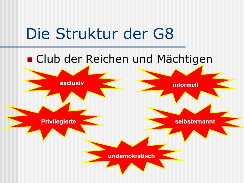 Die Struktur der G8 Club der Reichen und Mächtigen exclusiv Privilegierteselbsternannt informell undemokratisch