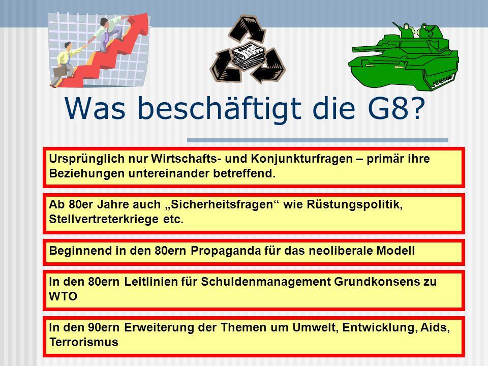 Was beschäftigt die G8? Ab 80er Jahre auch Sicherheitsfragen wie Rüstungspolitik, Stellvertreterkriege etc. Ursprünglich nur Wirtschafts- und Konjunkt