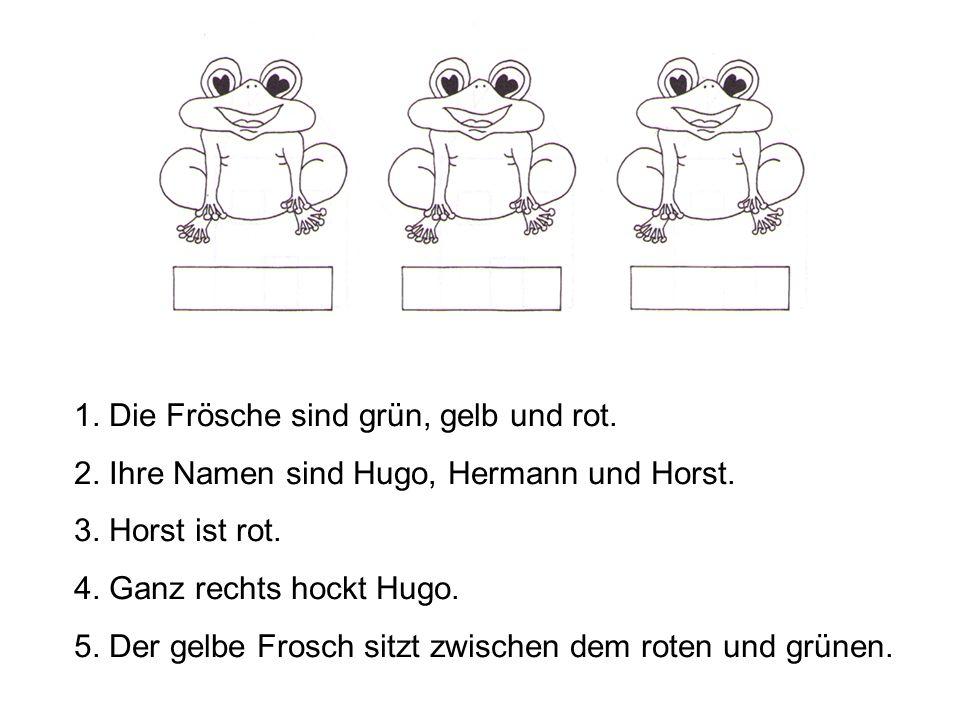 1. Die Frösche sind grün, gelb und rot. 2. Ihre Namen sind Hugo, Hermann und Horst. 3. Horst ist rot. 4. Ganz rechts hockt Hugo. 5. Der gelbe Frosch s