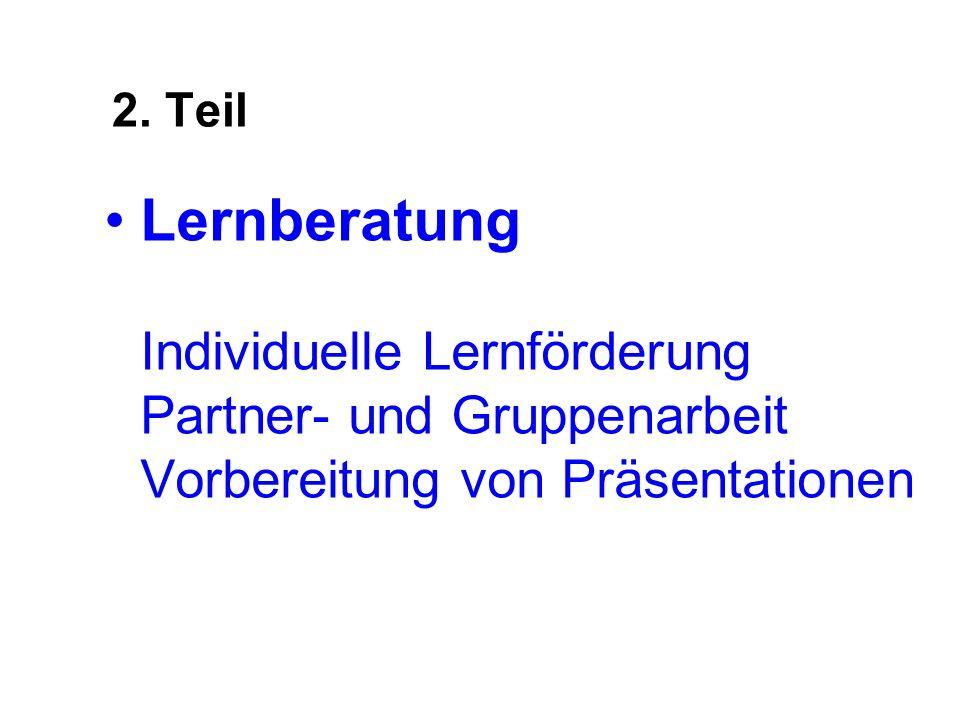 2. Teil Lernberatung Individuelle Lernförderung Partner- und Gruppenarbeit Vorbereitung von Präsentationen