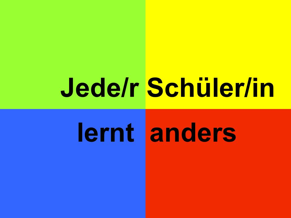 Jede/r Schüler/in lernt anders