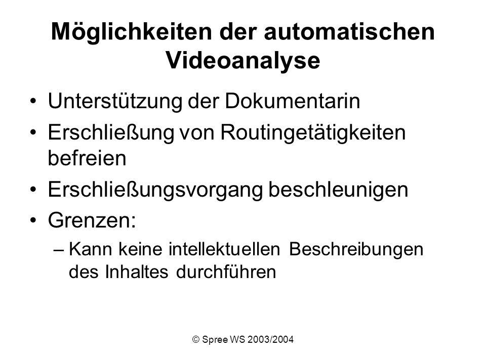 © Spree WS 2003/2004 Möglichkeiten der automatischen Videoanalyse Unterstützung der Dokumentarin Erschließung von Routingetätigkeiten befreien Erschließungsvorgang beschleunigen Grenzen: –Kann keine intellektuellen Beschreibungen des Inhaltes durchführen