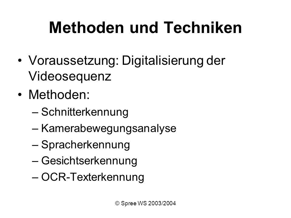 © Spree WS 2003/2004 Methoden und Techniken Voraussetzung: Digitalisierung der Videosequenz Methoden: –Schnitterkennung –Kamerabewegungsanalyse –Spracherkennung –Gesichtserkennung –OCR-Texterkennung