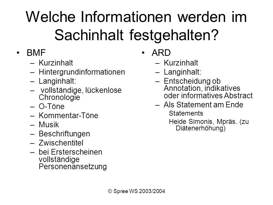© Spree WS 2003/2004 Welche Informationen werden im Sachinhalt festgehalten.