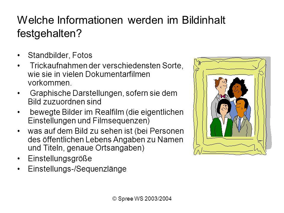 © Spree WS 2003/2004 Welche Informationen werden im Bildinhalt festgehalten.