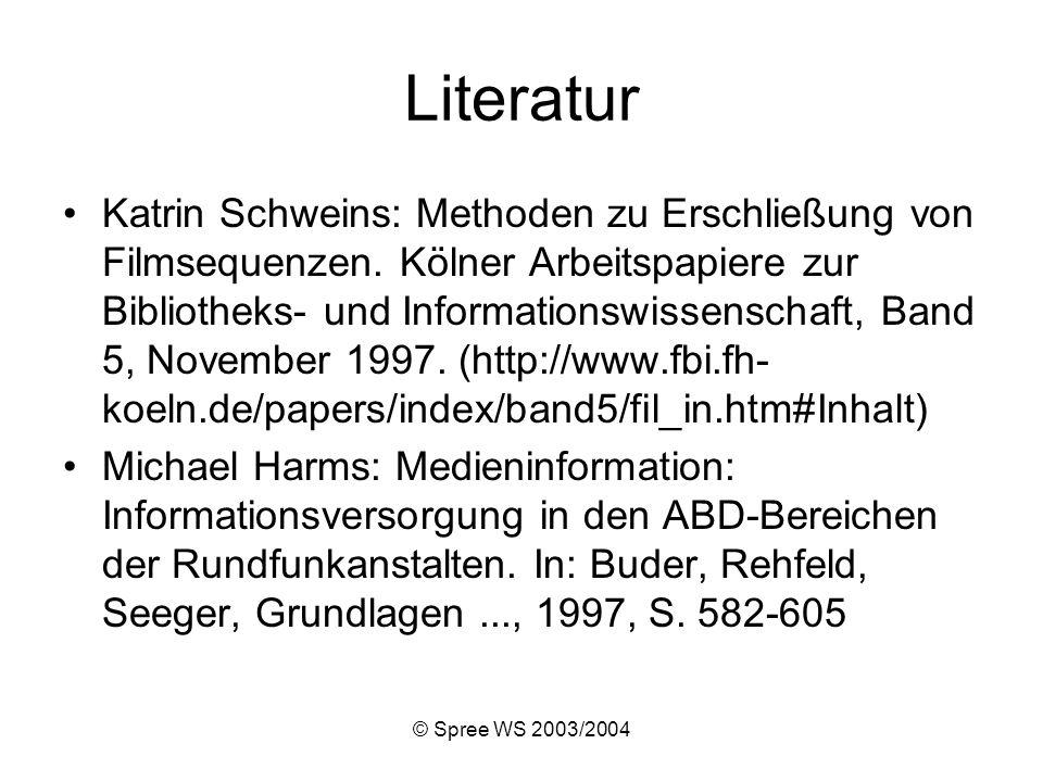© Spree WS 2003/2004 Literatur Katrin Schweins: Methoden zu Erschließung von Filmsequenzen.