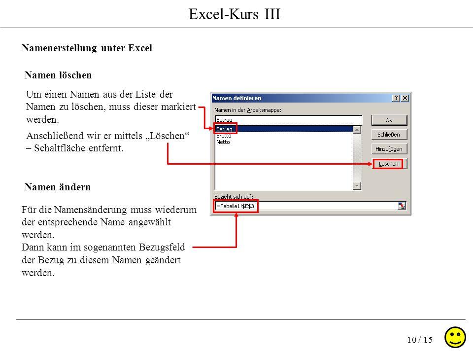 Excel-Kurs III 10 / 15 Namenerstellung unter Excel Namen löschen Namen ändern Um einen Namen aus der Liste der Namen zu löschen, muss dieser markiert werden.