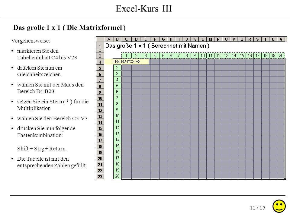 Excel-Kurs III 11 / 15 Das große 1 x 1 ( Die Matrixformel ) Vorgehensweise: markieren Sie den Tabelleninhalt C4 bis V23 drücken Sie nun ein Gleichheitszeichen wählen Sie mit der Maus den Bereich B4:B23 setzen Sie ein Stern ( * ) für die Multiplikation wählen Sie den Bereich C3:V3 drücken Sie nun folgende Tastenkombination: Shift + Strg + Return Die Tabelle ist mit den entsprechenden Zahlen gefüllt