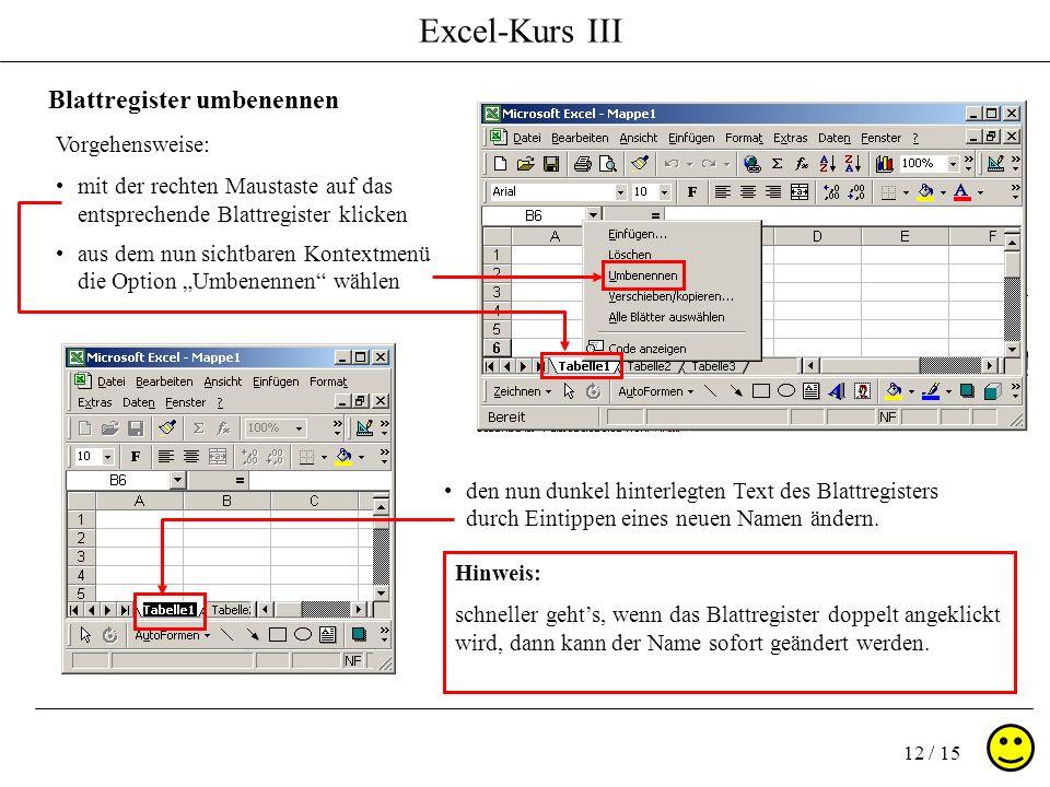 Excel-Kurs III 12 / 15 Blattregister umbenennen Vorgehensweise: mit der rechten Maustaste auf das entsprechende Blattregister klicken aus dem nun sichtbaren Kontextmenü die Option Umbenennen wählen den nun dunkel hinterlegten Text des Blattregisters durch Eintippen eines neuen Namen ändern.