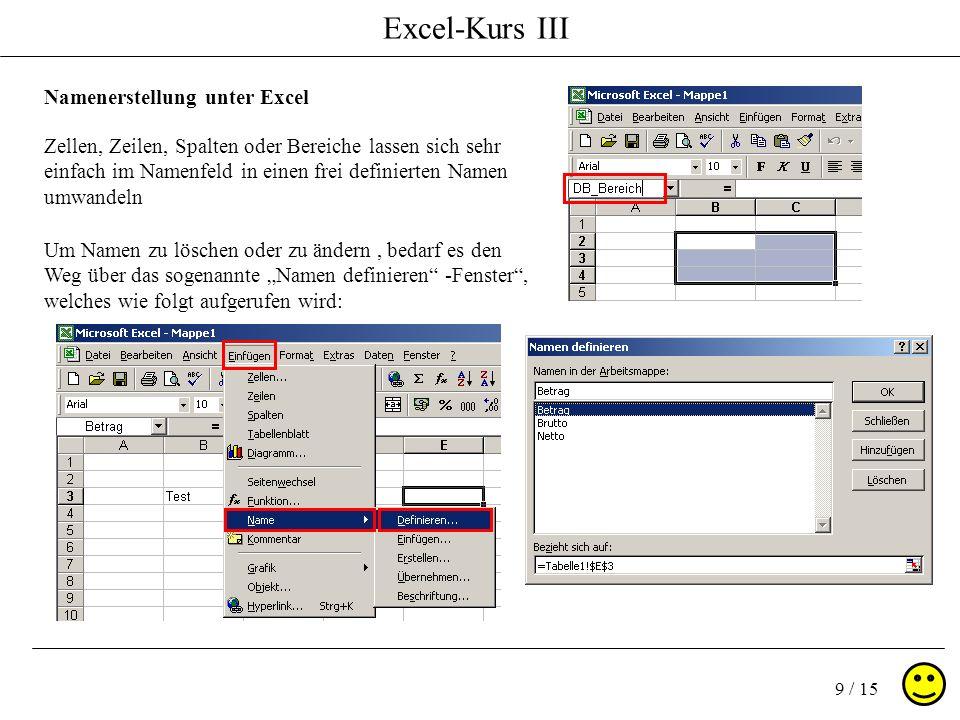 Excel-Kurs III 9 / 15 Namenerstellung unter Excel Zellen, Zeilen, Spalten oder Bereiche lassen sich sehr einfach im Namenfeld in einen frei definierten Namen umwandeln Um Namen zu löschen oder zu ändern, bedarf es den Weg über das sogenannte Namen definieren -Fenster, welches wie folgt aufgerufen wird: