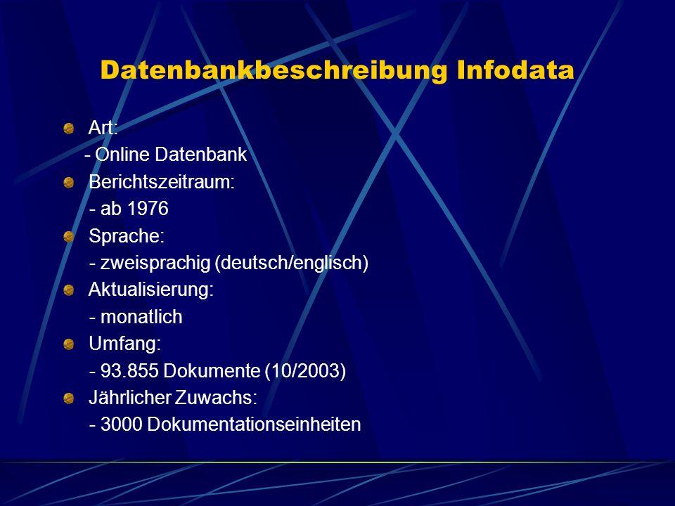 Datenbankbeschreibung Infodata Art: - Online Datenbank Berichtszeitraum: - ab 1976 Sprache: - zweisprachig (deutsch/englisch) Aktualisierung: - monatl
