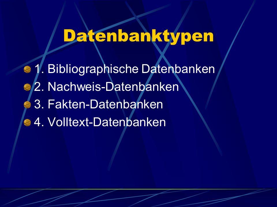 Datenbanktypen 1. Bibliographische Datenbanken 2. Nachweis-Datenbanken 3. Fakten-Datenbanken 4. Volltext-Datenbanken