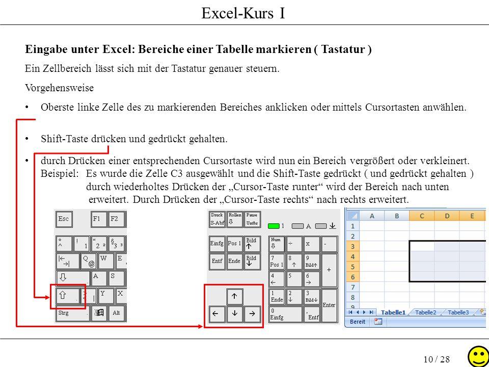 Excel-Kurs I 10 / 28 Eingabe unter Excel: Bereiche einer Tabelle markieren ( Tastatur ) Ein Zellbereich lässt sich mit der Tastatur genauer steuern. V