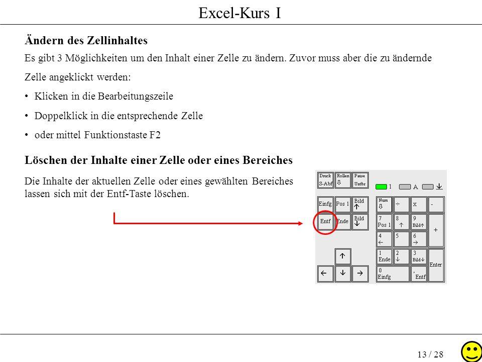 Excel-Kurs I 13 / 28 Ändern des Zellinhaltes Es gibt 3 Möglichkeiten um den Inhalt einer Zelle zu ändern. Zuvor muss aber die zu ändernde Zelle angekl