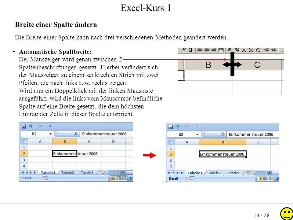 Excel-Kurs I 14 / 28 Breite einer Spalte ändern Die Breite einer Spalte kann nach drei verschiedenen Methoden geändert werden. Automatische Spaltbreit