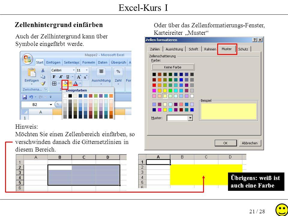 Excel-Kurs I 21 / 28 Zellenhintergrund einfärben Auch der Zellhintergrund kann über Symbole eingefärbt werde. Oder über das Zellenformatierungs-Fenste