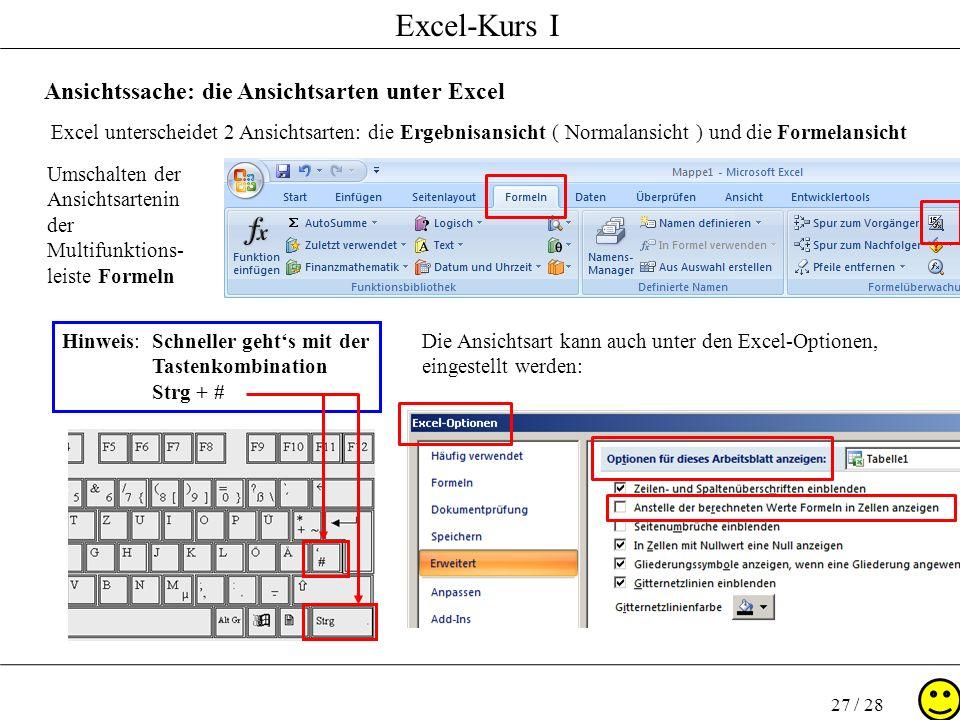 Excel-Kurs I 27 / 28 Ansichtssache: die Ansichtsarten unter Excel Excel unterscheidet 2 Ansichtsarten: die Ergebnisansicht ( Normalansicht ) und die F