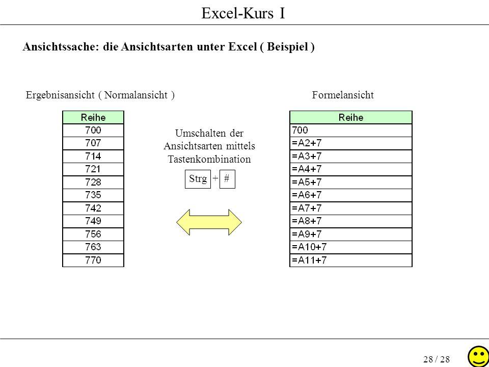 Excel-Kurs I 28 / 28 Ansichtssache: die Ansichtsarten unter Excel ( Beispiel ) Ergebnisansicht ( Normalansicht )Formelansicht Umschalten der Ansichtsa