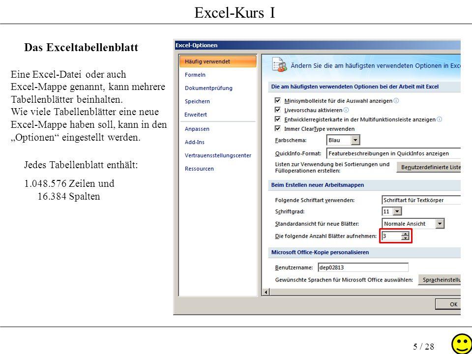 Excel-Kurs I 5 / 28 Das Exceltabellenblatt Jedes Tabellenblatt enthält: 1.048.576 Zeilen und 16.384 Spalten Eine Excel-Datei oder auch Excel-Mappe gen
