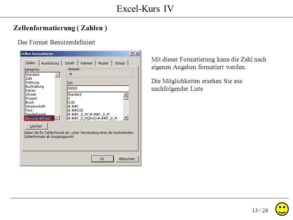 Excel-Kurs IV 13 / 28 Zellenformatierung ( Zahlen ) Das Format Benutzerdefiniert Mit dieser Formatierung kann die Zahl nach eigenen Angaben formatiert
