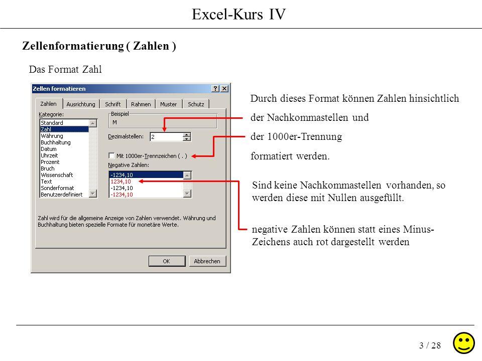 Excel-Kurs IV 3 / 28 Zellenformatierung ( Zahlen ) Das Format Zahl Sind keine Nachkommastellen vorhanden, so werden diese mit Nullen ausgefüllt. Durch