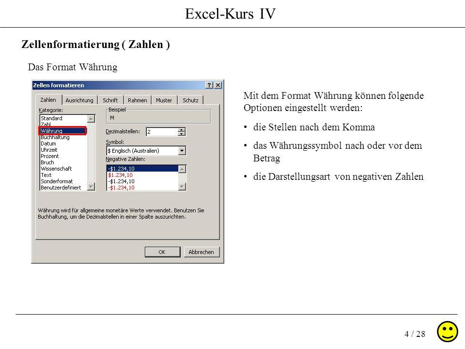 Excel-Kurs IV 4 / 28 Zellenformatierung ( Zahlen ) Das Format Währung Mit dem Format Währung können folgende Optionen eingestellt werden: die Stellen