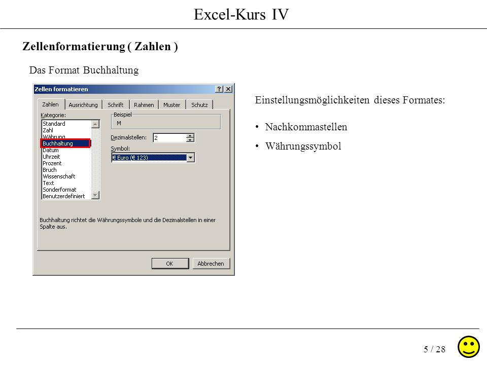 Excel-Kurs IV 5 / 28 Zellenformatierung ( Zahlen ) Das Format Buchhaltung Einstellungsmöglichkeiten dieses Formates: Nachkommastellen Währungssymbol