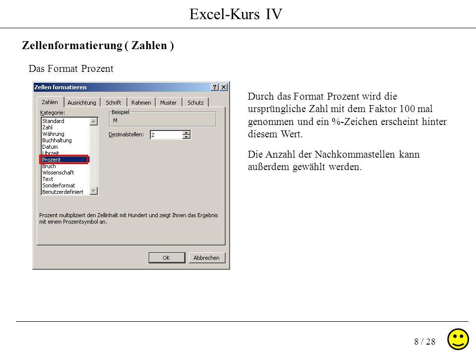 Excel-Kurs IV 8 / 28 Zellenformatierung ( Zahlen ) Das Format Prozent Durch das Format Prozent wird die ursprüngliche Zahl mit dem Faktor 100 mal geno