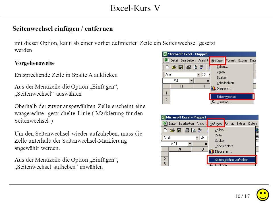 Excel-Kurs V 10 / 17 Seitenwechsel einfügen / entfernen mit dieser Option, kann ab einer vorher definierten Zeile ein Seitenwechsel gesetzt werden Vorgehensweise Entsprechende Zeile in Spalte A anklicken Aus der Menüzeile die Option Einfügen, Seitenwechsel auswählen Oberhalb der zuvor ausgewählten Zelle erscheint eine waagerechte, gestrichelte Linie ( Markierung für den Seitenwechsel ) Um den Seitenwechsel wieder aufzuheben, muss die Zelle unterhalb der Seitenwechsel-Markierung angewählt werden.