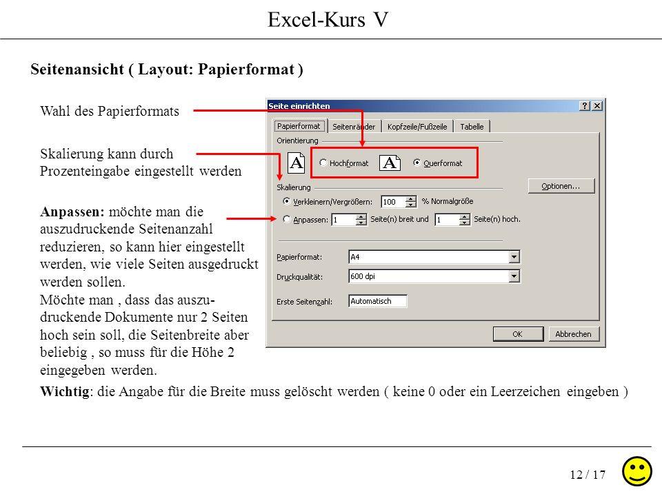 Excel-Kurs V 12 / 17 Seitenansicht ( Layout: Papierformat ) Wahl des Papierformats Wichtig: die Angabe für die Breite muss gelöscht werden ( keine 0 oder ein Leerzeichen eingeben ) Anpassen: möchte man die auszudruckende Seitenanzahl reduzieren, so kann hier eingestellt werden, wie viele Seiten ausgedruckt werden sollen.
