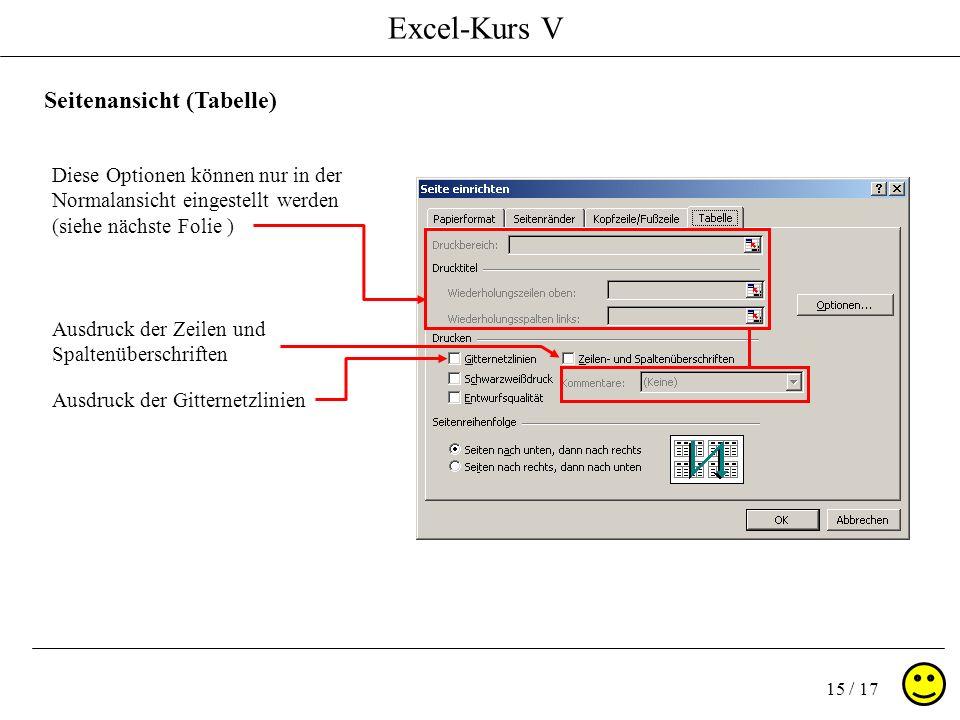 Excel-Kurs V 15 / 17 Seitenansicht (Tabelle) Diese Optionen können nur in der Normalansicht eingestellt werden (siehe nächste Folie ) Ausdruck der Gitternetzlinien Ausdruck der Zeilen und Spaltenüberschriften